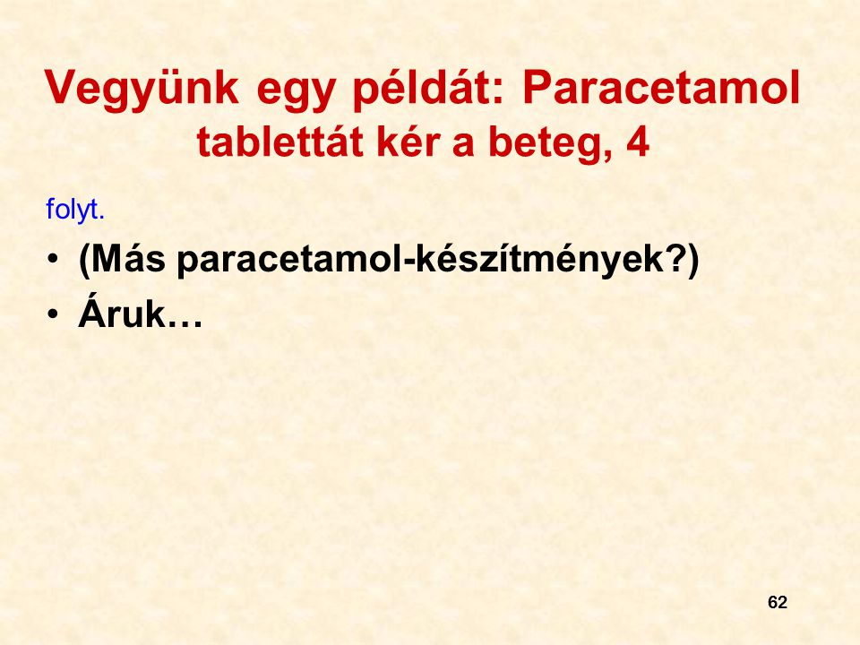 Vegyünk egy példát: Paracetamol tablettát kér a beteg, 4