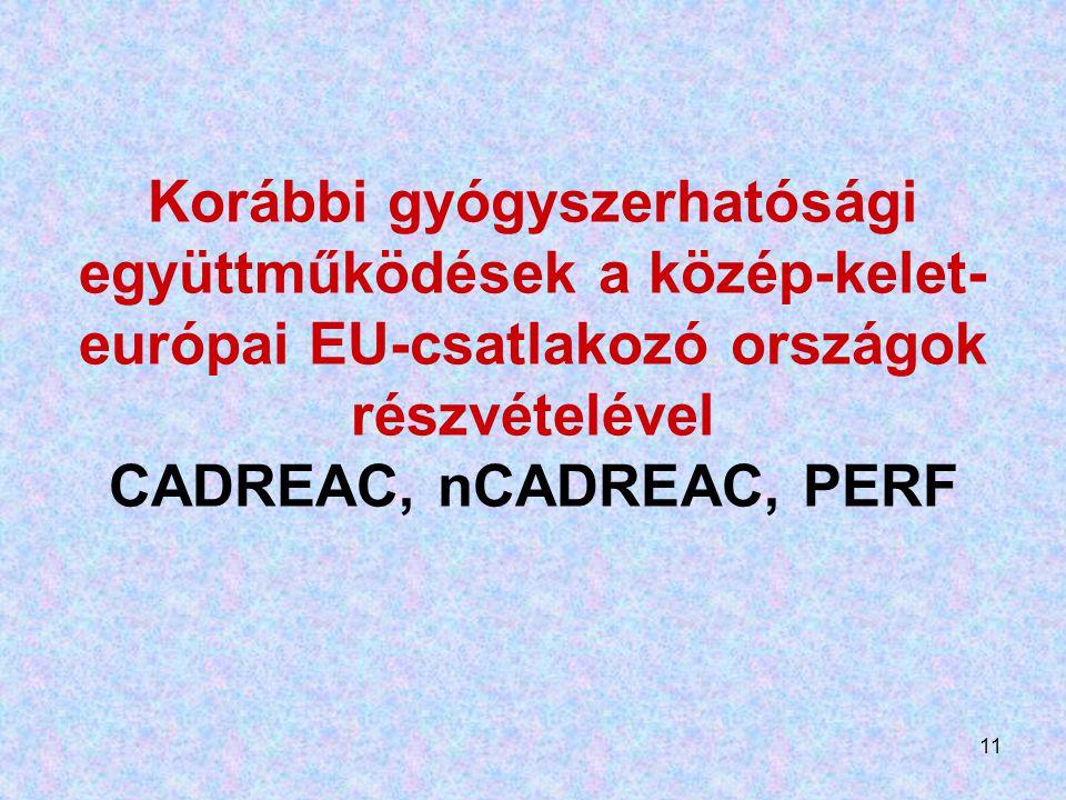 Korábbi gyógyszerhatósági együttműködések a közép-kelet-európai EU-csatlakozó országok részvételével CADREAC, nCADREAC, PERF