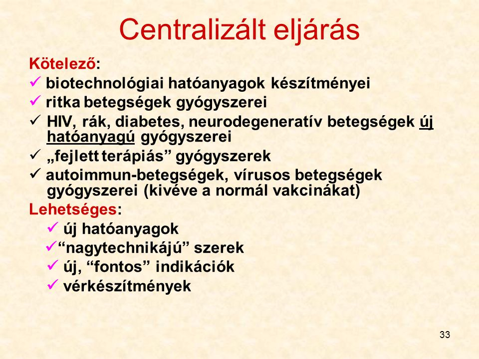 Centralizált eljárás Kötelező: