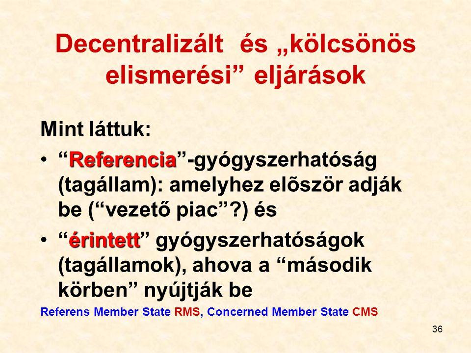"""Decentralizált és """"kölcsönös elismerési eljárások"""