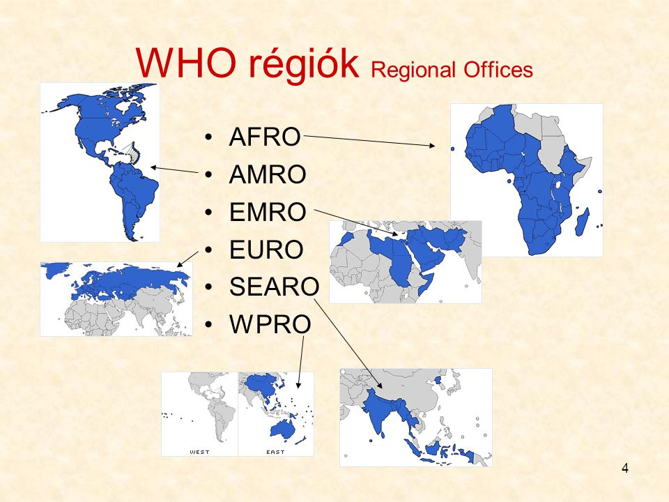 WHO régiók Regional Offices