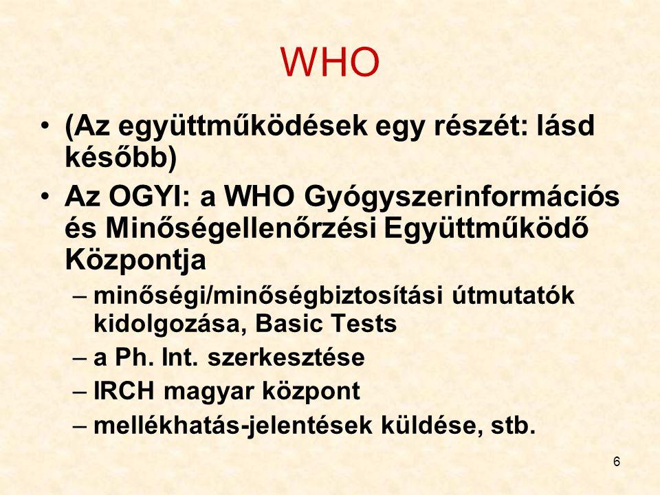 WHO (Az együttműködések egy részét: lásd később)