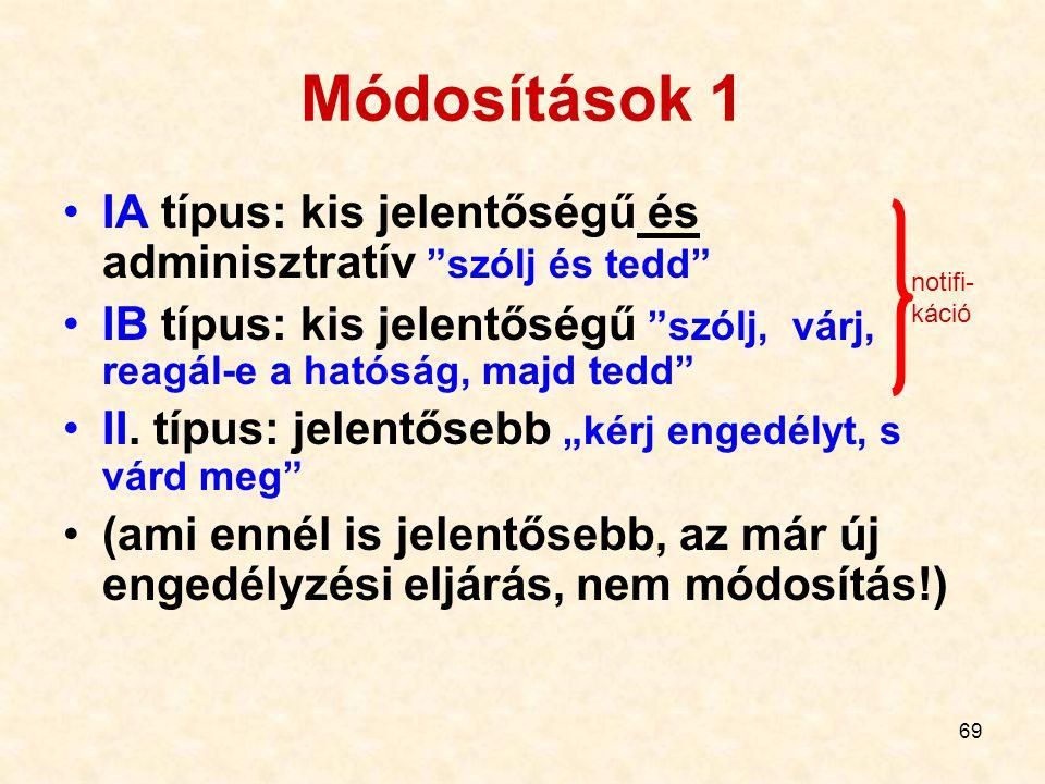 Módosítások 1 IA típus: kis jelentőségű és adminisztratív szólj és tedd IB típus: kis jelentőségű szólj, várj, reagál-e a hatóság, majd tedd