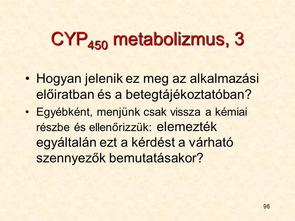 CYP450 metabolizmus, 3 Hogyan jelenik ez meg az alkalmazási előiratban és a betegtájékoztatóban