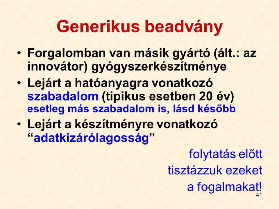 Generikus beadvány Forgalomban van másik gyártó (ált.: az innovátor) gyógyszerkészítménye.