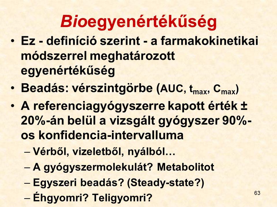Bioegyenértékűség Ez - definíció szerint - a farmakokinetikai módszerrel meghatározott egyenértékűség.