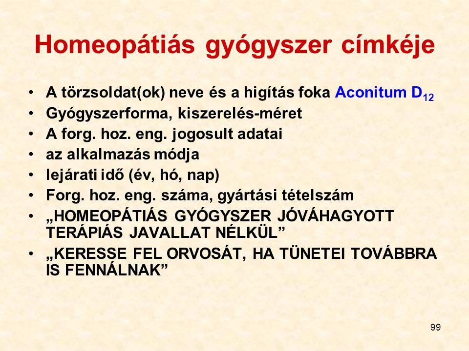Homeopátiás gyógyszer címkéje