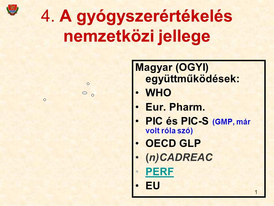 4. A gyógyszerértékelés nemzetközi jellege