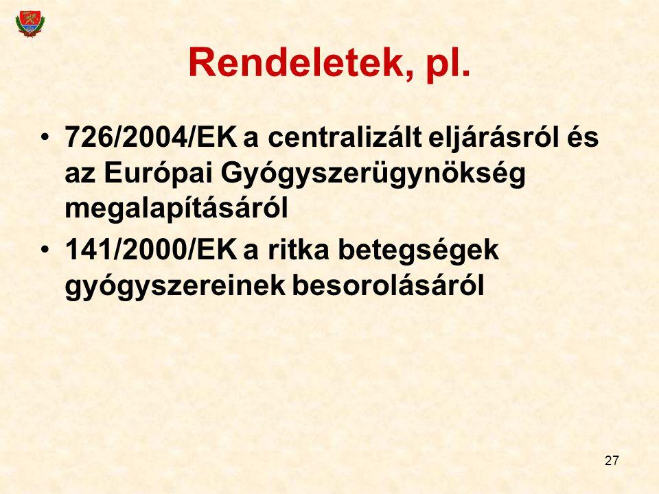 Rendeletek, pl. 726/2004/EK a centralizált eljárásról és az Európai Gyógyszerügynökség megalapításáról.