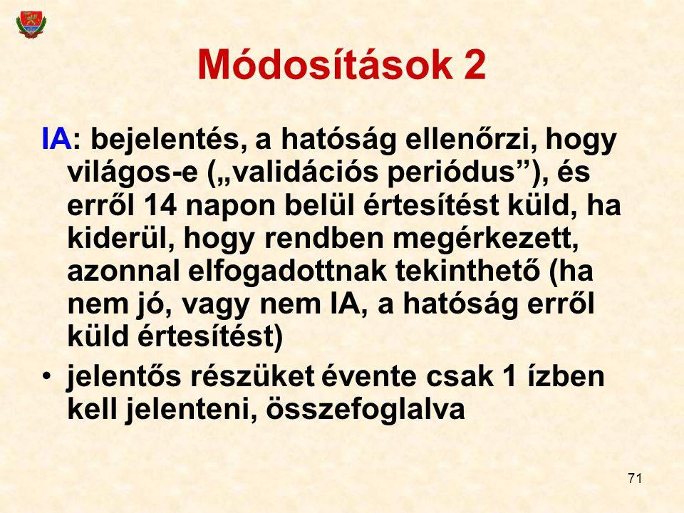 Módosítások 2