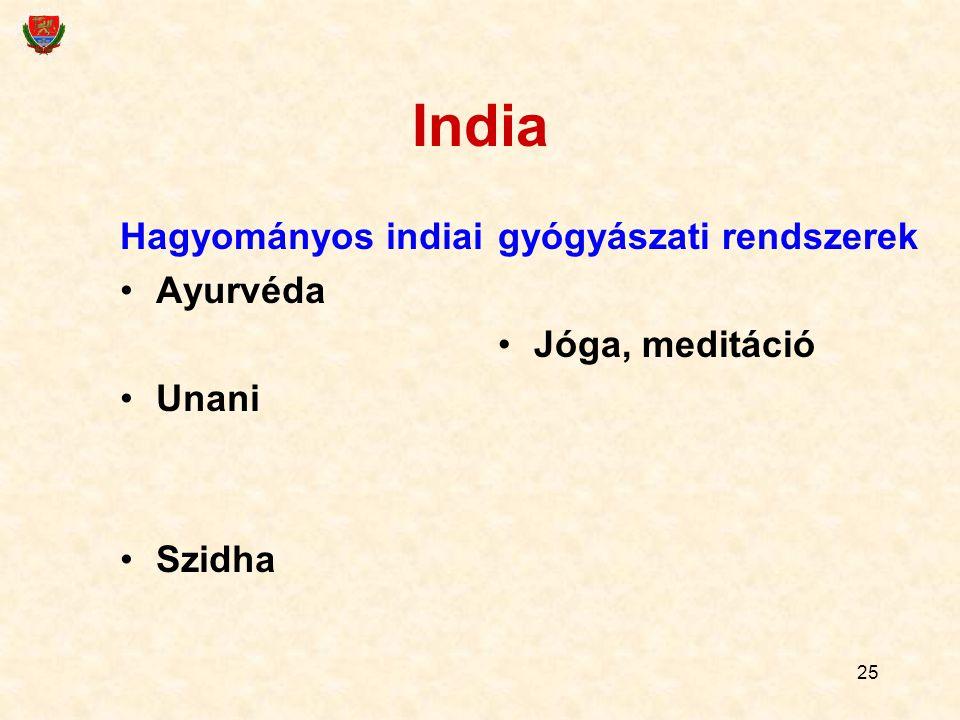 India Hagyományos indiai Ayurvéda Unani Szidha gyógyászati rendszerek