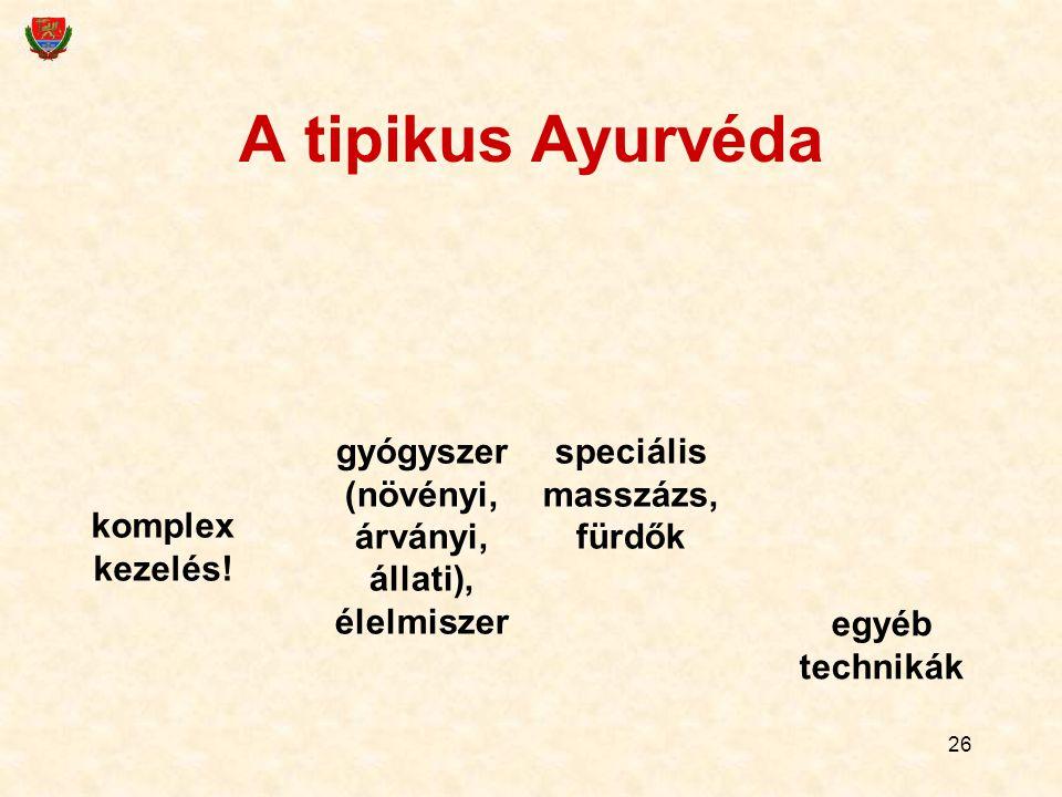A tipikus Ayurvéda gyógyszer (növényi, árványi, állati), élelmiszer