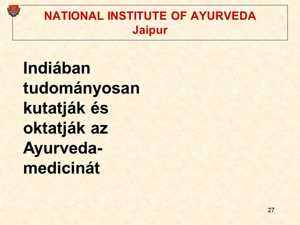 NATIONAL INSTITUTE OF AYURVEDA Jaipur
