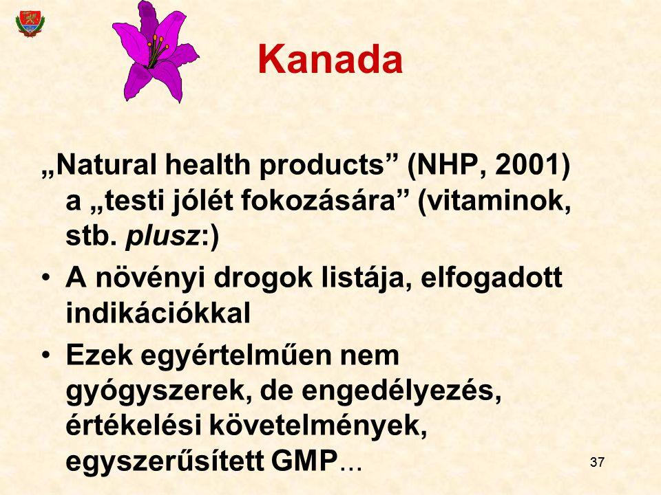 """Kanada """"Natural health products (NHP, 2001) a """"testi jólét fokozására (vitaminok, stb. plusz:) A növényi drogok listája, elfogadott indikációkkal."""