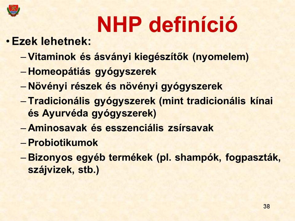 NHP definíció Ezek lehetnek: