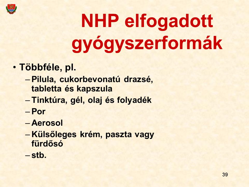 NHP elfogadott gyógyszerformák