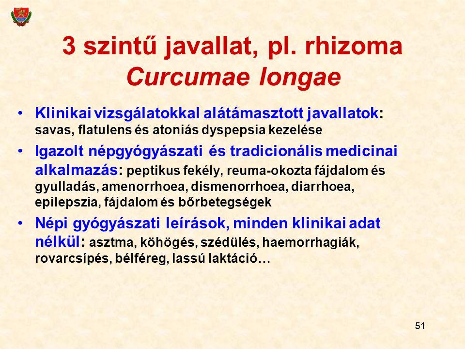 3 szintű javallat, pl. rhizoma Curcumae longae