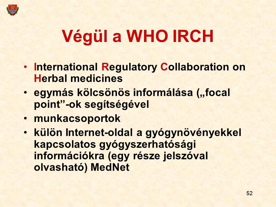 """Végül a WHO IRCH International Regulatory Collaboration on Herbal medicines. egymás kölcsönös informálása (""""focal point -ok segítségével."""