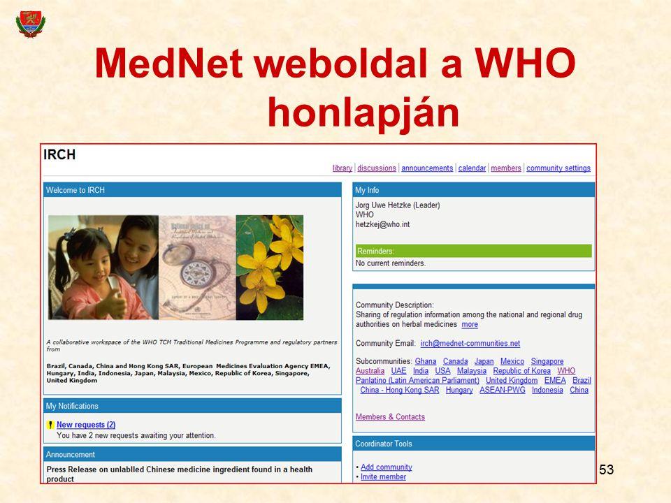 MedNet weboldal a WHO honlapján