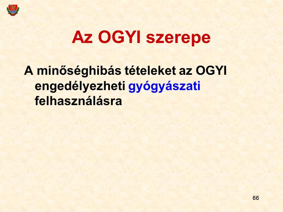Az OGYI szerepe A minőséghibás tételeket az OGYI engedélyezheti gyógyászati felhasználásra 66