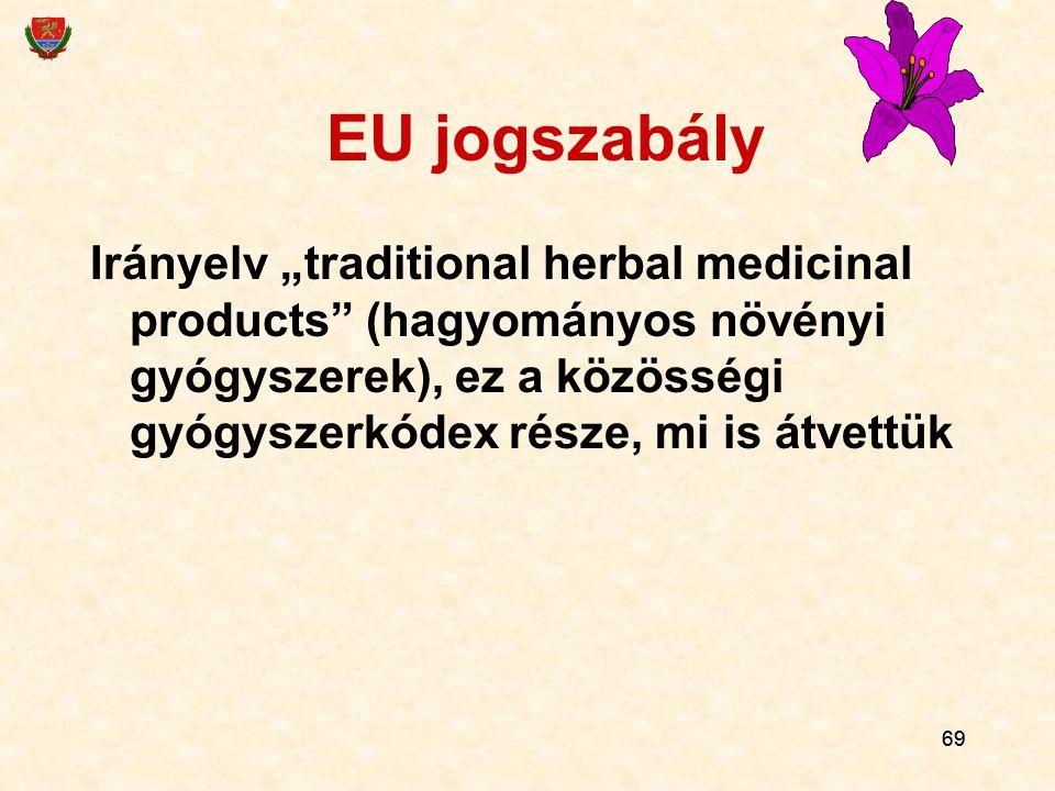 """EU jogszabály Irányelv """"traditional herbal medicinal products (hagyományos növényi gyógyszerek), ez a közösségi gyógyszerkódex része, mi is átvettük."""