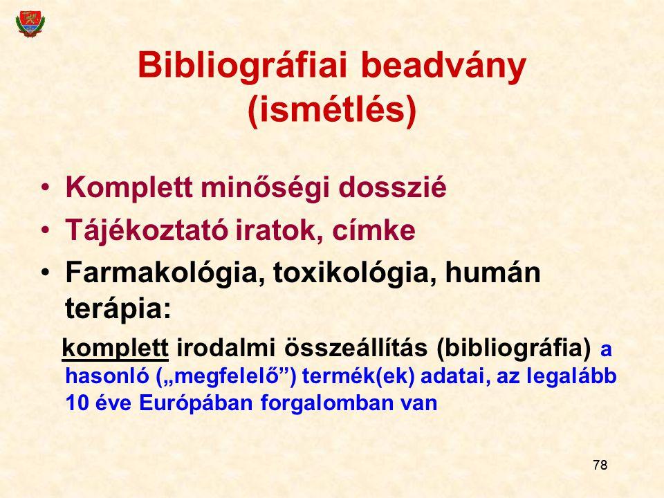 Bibliográfiai beadvány (ismétlés)