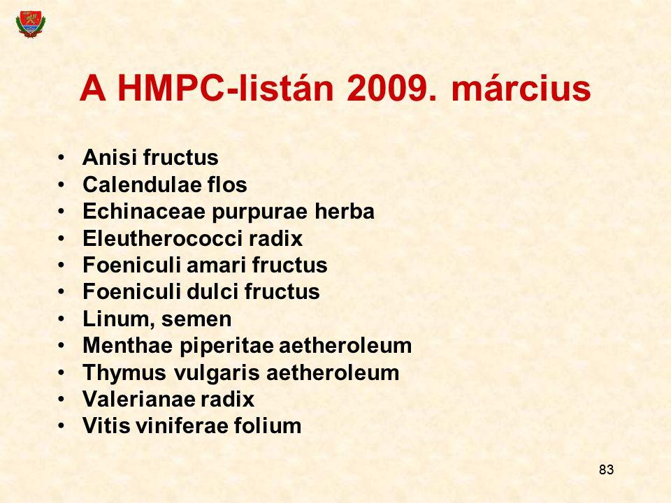 A HMPC-listán 2009. március Anisi fructus Calendulae flos