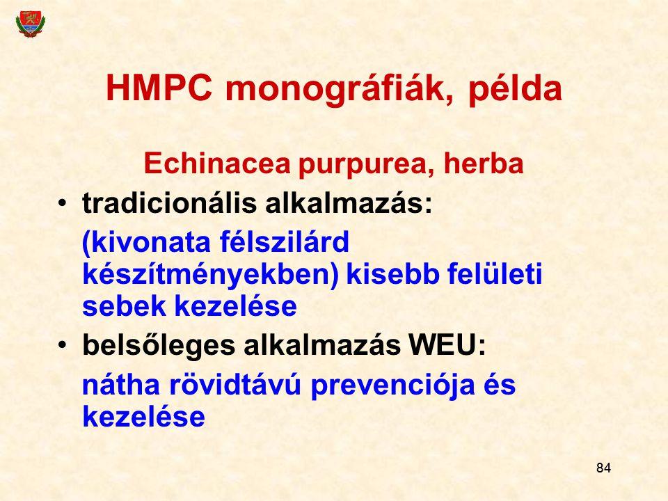 HMPC monográfiák, példa