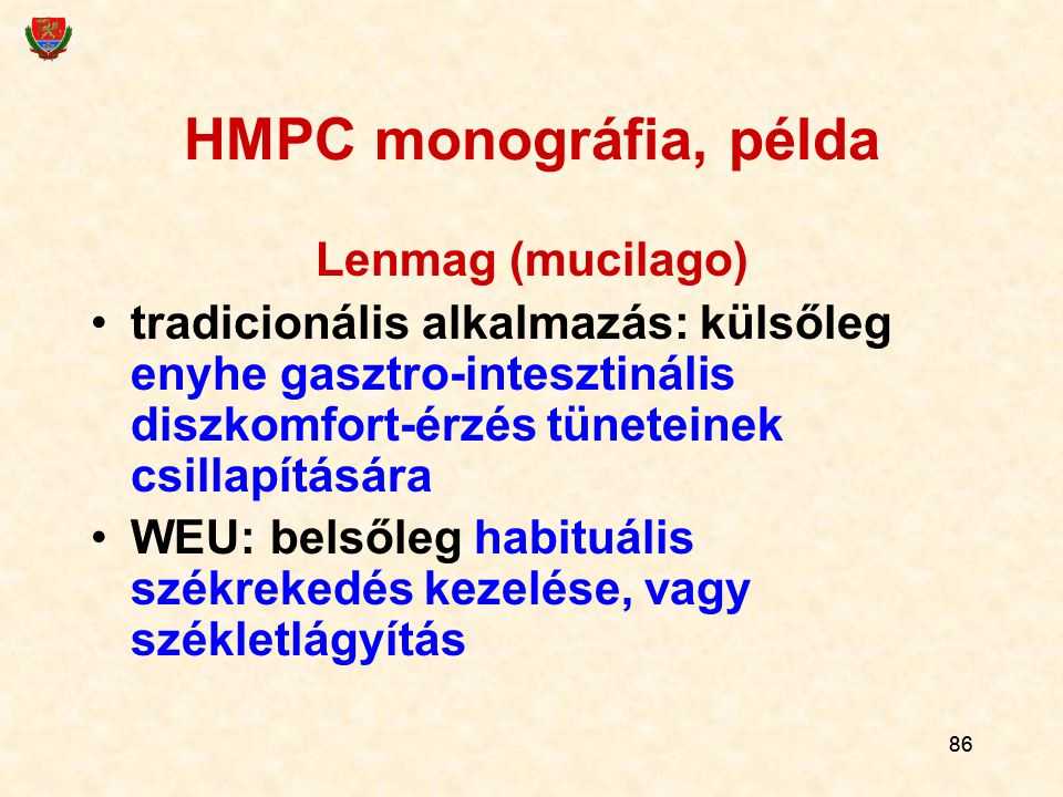 HMPC monográfia, példa Lenmag (mucilago)
