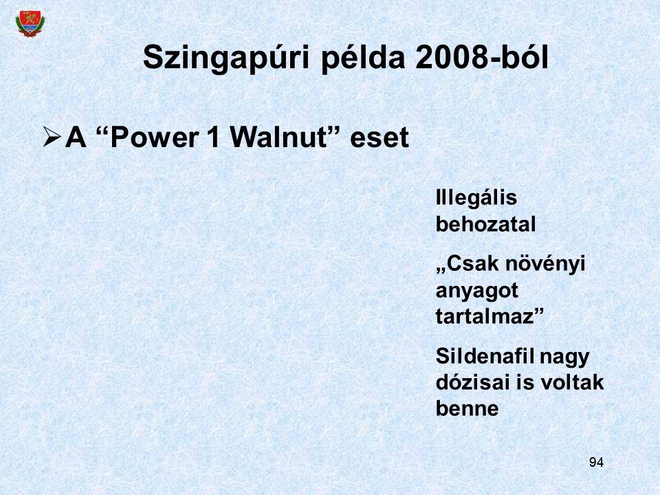Szingapúri példa 2008-ból A Power 1 Walnut eset Illegális behozatal