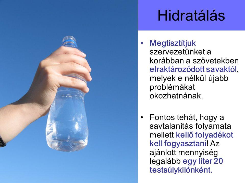Hidratálás Megtisztítjuk szervezetünket a korábban a szövetekben elraktározódott savaktól, melyek e nélkül újabb problémákat okozhatnának.