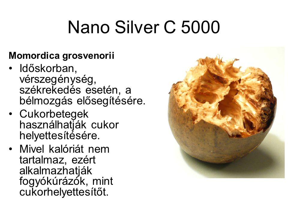 Nano Silver C 5000 Momordica grosvenorii. Időskorban, vérszegénység, székrekedés esetén, a bélmozgás elősegítésére.