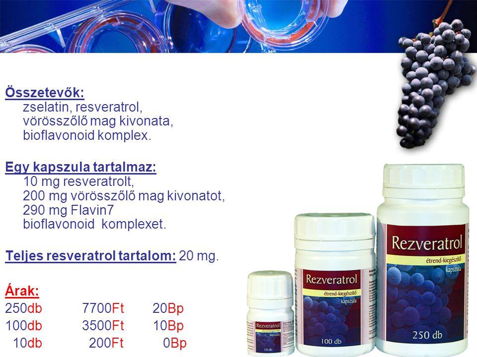 Összetevők: zselatin, resveratrol, vörösszőlő mag kivonata, bioflavonoid komplex.
