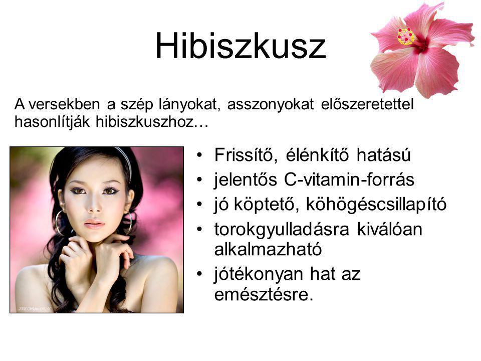 Hibiszkusz Frissítő, élénkítő hatású jelentős C-vitamin-forrás