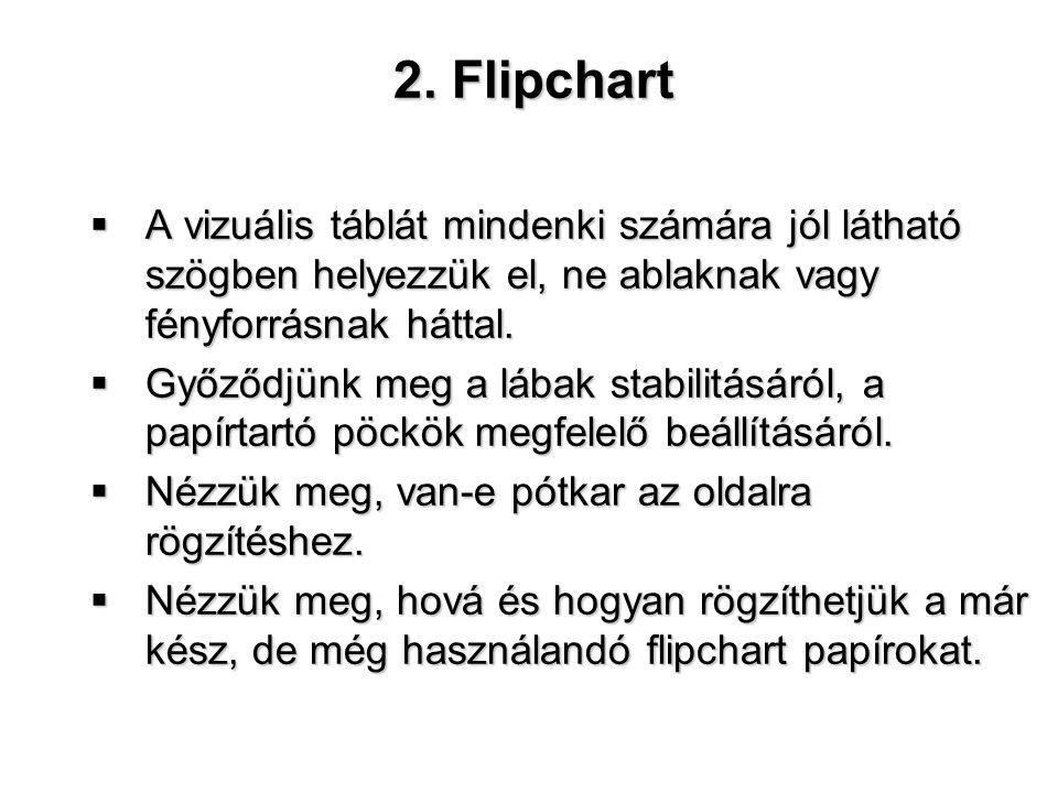 2. Flipchart A vizuális táblát mindenki számára jól látható szögben helyezzük el, ne ablaknak vagy fényforrásnak háttal.