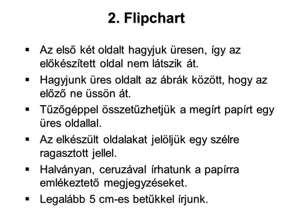 2. Flipchart Az első két oldalt hagyjuk üresen, így az előkészített oldal nem látszik át.