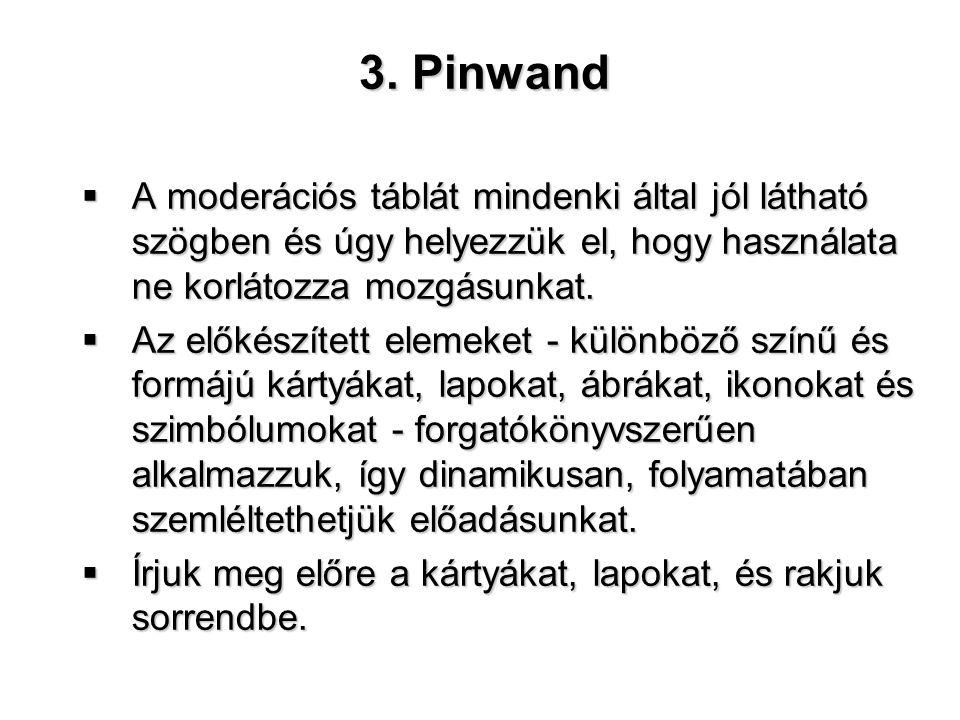 3. Pinwand A moderációs táblát mindenki által jól látható szögben és úgy helyezzük el, hogy használata ne korlátozza mozgásunkat.