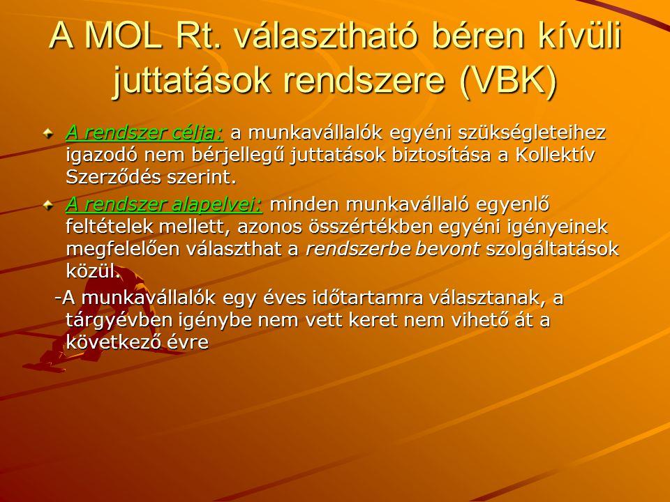 A MOL Rt. választható béren kívüli juttatások rendszere (VBK)