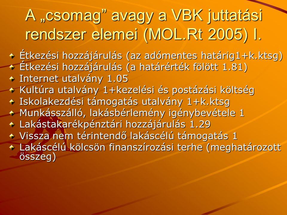 """A """"csomag avagy a VBK juttatási rendszer elemei (MOL.Rt 2005) I."""