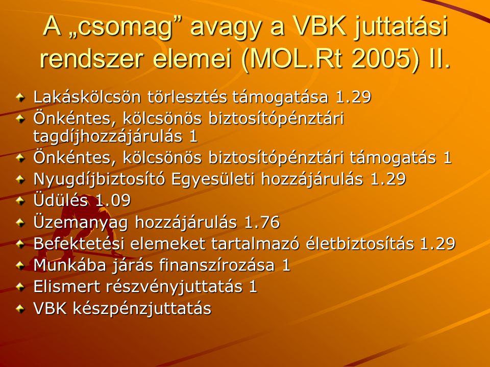 """A """"csomag avagy a VBK juttatási rendszer elemei (MOL.Rt 2005) II."""
