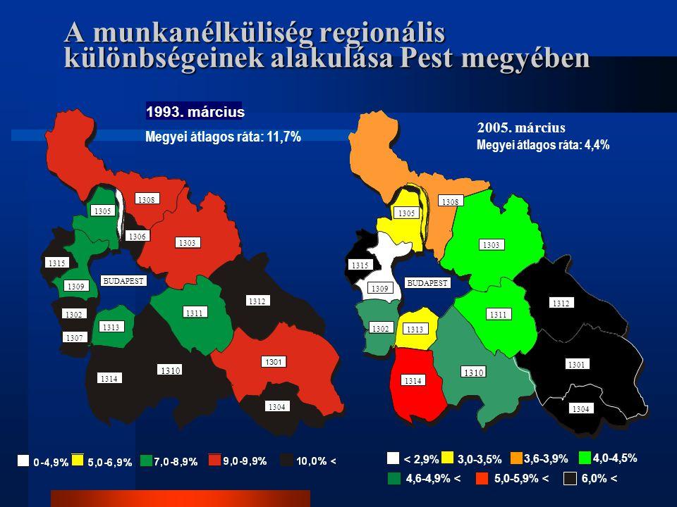 A munkanélküliség regionális különbségeinek alakulása Pest megyében