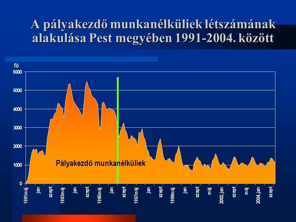A pályakezdő munkanélküliek létszámának alakulása Pest megyében 1991-2004. között