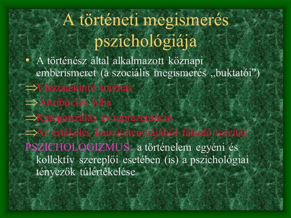 A történeti megismerés pszichológiája