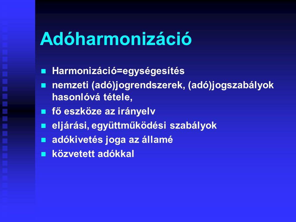 Adóharmonizáció Harmonizáció=egységesítés