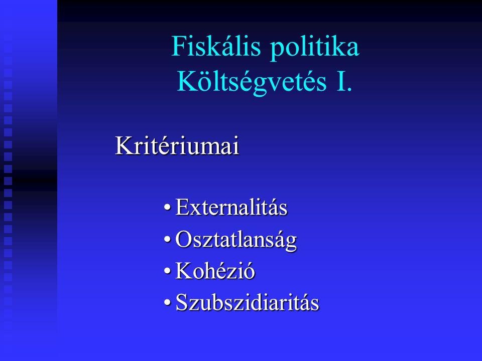 Fiskális politika Költségvetés I.