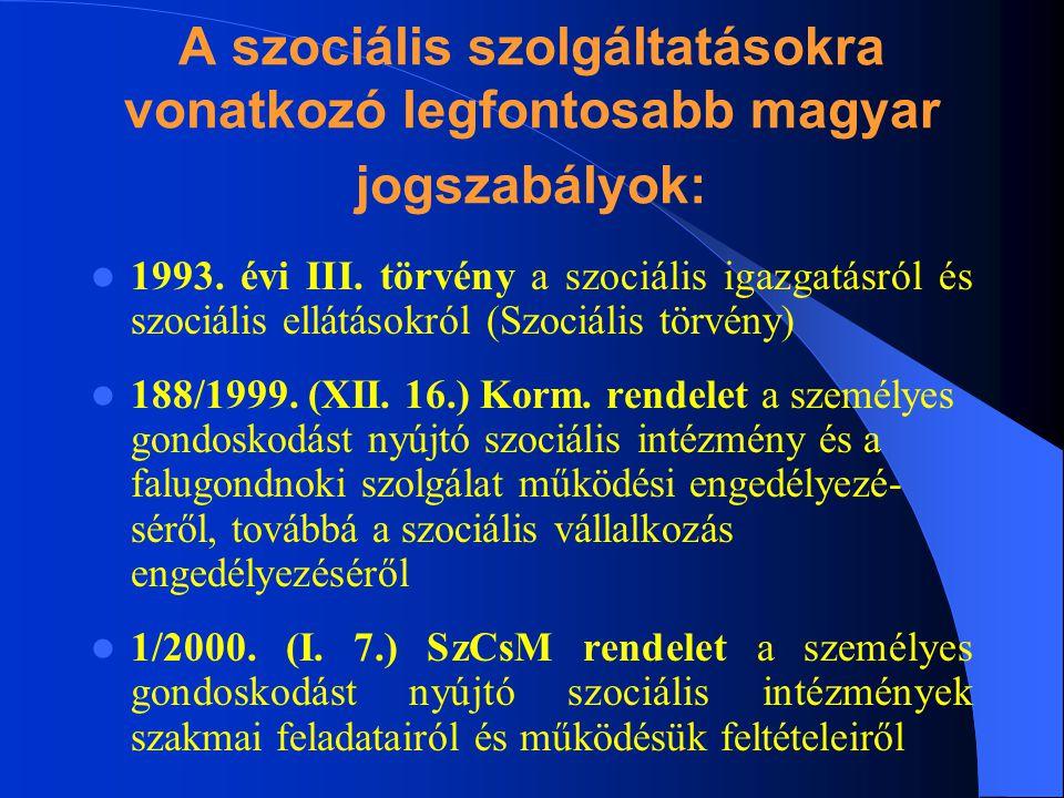 A szociális szolgáltatásokra vonatkozó legfontosabb magyar jogszabályok: