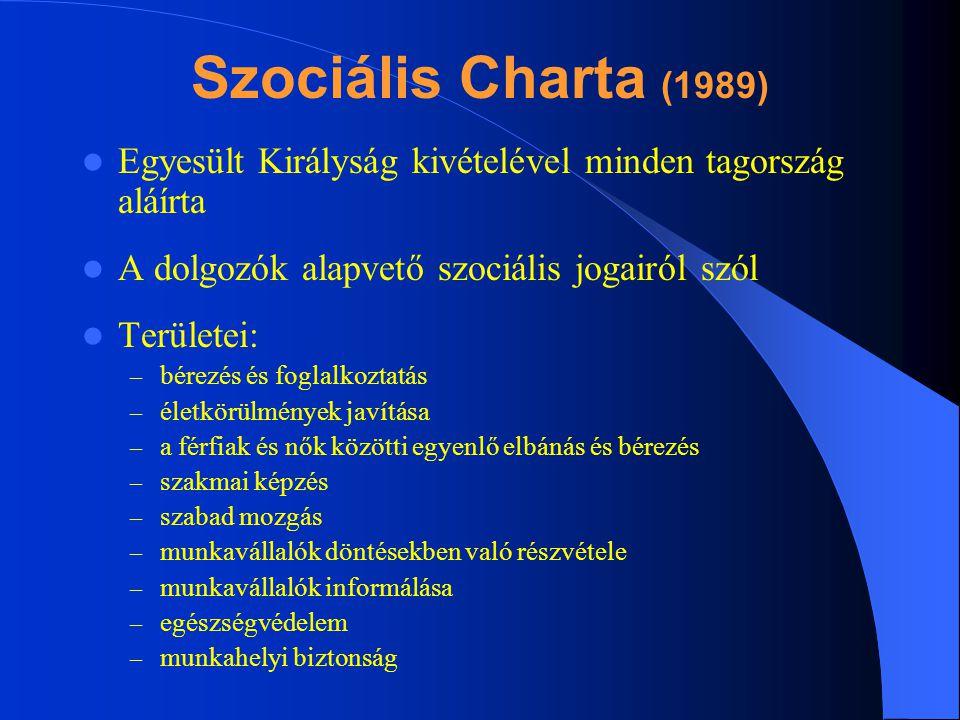 Szociális Charta (1989) Egyesült Királyság kivételével minden tagország aláírta. A dolgozók alapvető szociális jogairól szól.