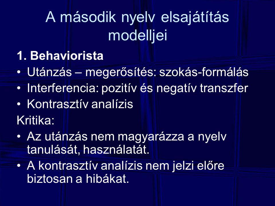 A második nyelv elsajátítás modelljei