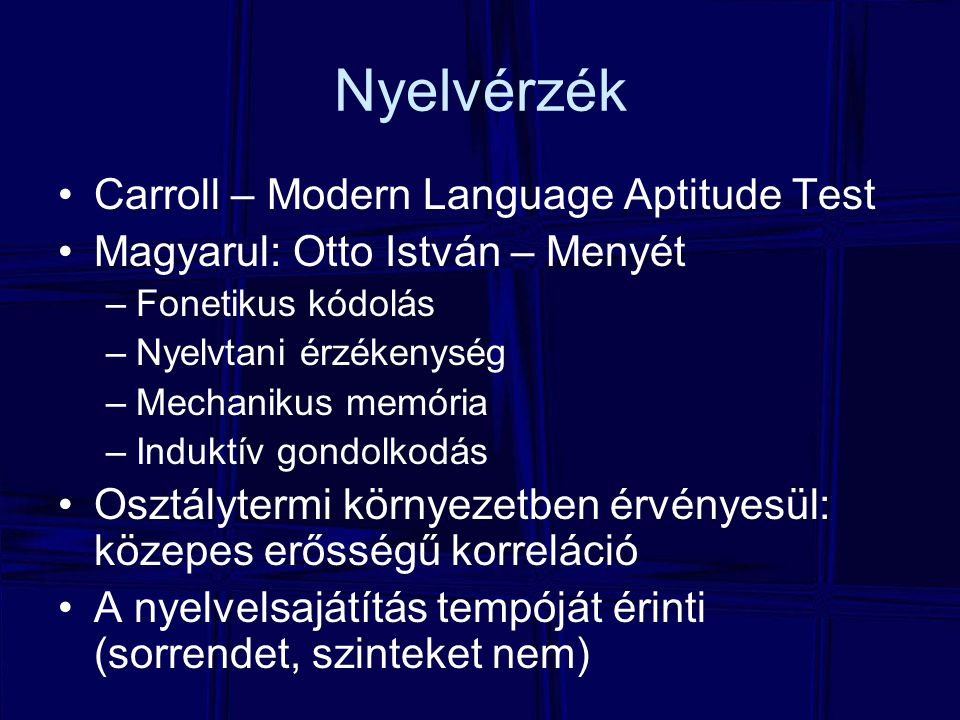 Nyelvérzék Carroll – Modern Language Aptitude Test