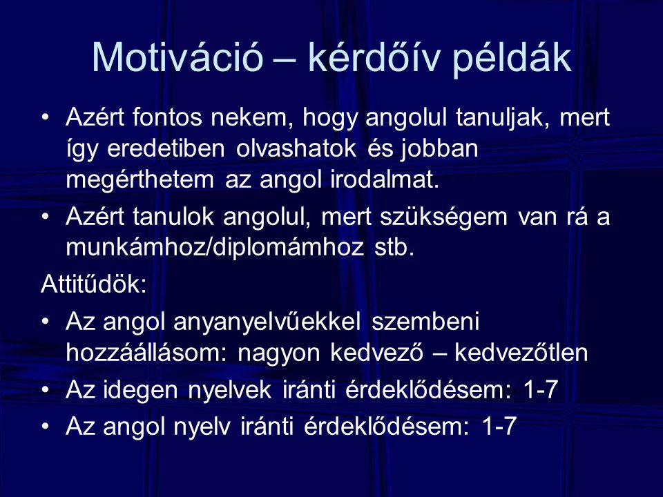 Motiváció – kérdőív példák
